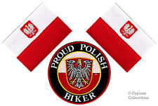 LOT of 3 - PROUD POLISH BIKER IRON-ON PATCH POLAND FLAG embroidered POLSKA