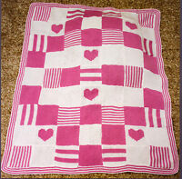 "Patchwork Heart Baby Blanket Knit in Squares 32"" x 40""  DK Knitting Pattern"
