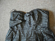 New Look-black and silver strapless jacquard bow prom mini dress / top - Size 12
