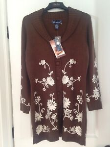 Susan Graver LONG CARDIGAN Knit EMBROIDERED Floral SWEATER Sz S