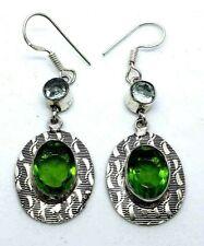 Green Peridot & Blue Topaz Drop Dangle Earrings Hook Fastening Oval Shape New