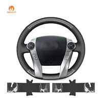 Hand Stitched PU Carbon Fiber Leather Steering Wheel Cover for Toyota Prius C V