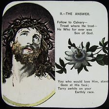 Glass Magic Lantern Slide CHRISTIAN RELIGIOUS TEXT NO8 C1900 WITH FLOWERS