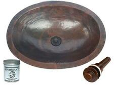 "19"" Oval Hammered Copper Bathroom Vanity Sink with Drain and Wax"