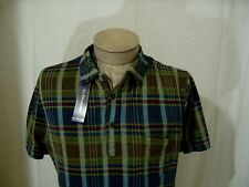 Polo Ralph Lauren Mens VTG Washed Rugby Indian Bohemian Madras Shirt Small Green