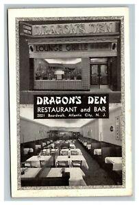 Vintage 1940's Postcard Dragon's Den Restaurant and Bar Atlantic City New Jersey