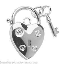 15mm candado + llave de apertura de plata esterlina joyas pulsera con dijes Broche