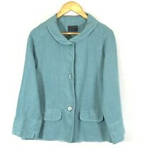 OSKA Jacket size 1 relax fit 12 UK Ice blue Linen Holiday Comfy Button Fav