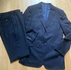 Dunhill London Blue Suit 52R St James fit Flat Front Two Button Suit