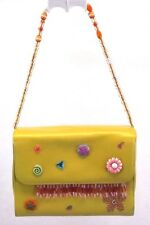 Satchel Handbag Purse Yellow Beaded Bag Leather Small Made in Germany
