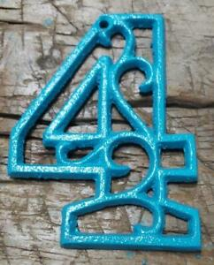 Rustic TURQUOISE Cast Iron Metal House Number Street Address 4 1/2 INCH Phone #4