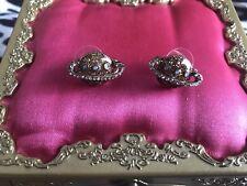 Betsey Johnson Heavens to Betsey Gold Glitter Saturn Planet Stud Earrings RARE
