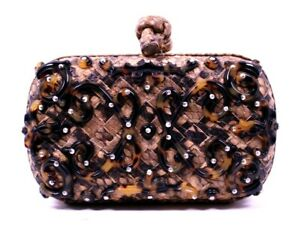 BOTTEGA VENETA Intrecciato Python Tortoise Resin KNOT Box Clutch Bag