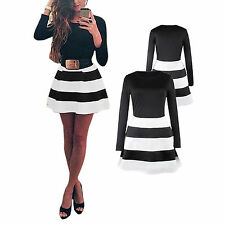 Polyester Long Sleeve Striped Petite Dresses for Women