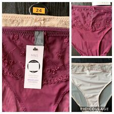 2 Pairs Knickers Size 10 With Lace Panel Purple Black Nude Bnwot