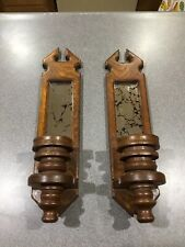 Vintage Mirrored Wooden Taper Candle Holder Wall Hangers!!