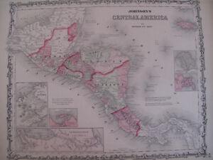Colored Map Johnson's Atlas Central America Honduras Nicaragua Costa Rica 1863
