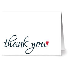 24 Thank You Note Cards - Thanks with Love - Red Envs