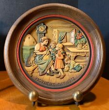 Anri Italy 1972 Alpine Mothers Day Hand Crafted & Painted Plaque #1508