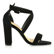 Womens Strappy Block Heel Sandals Ladies Evening Party Prom Bridal Shoes Size