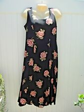 CIMMARON 8 10 M BLACK DRESS ROMANTIC PEACH ROSES SLEEVELESS PRINCESS SEAM MEDIUM
