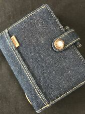 FILOFAX/ORGANISER-DENIM MINI-DARK BLUE DENIM FABRIC-RARE ITEM IN THIS SIZE