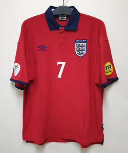 2000 ENGLAND Away S/S No.7 BECKHAM EURO 00-01 jersey shirt trikot