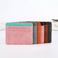 Fashion Women Men Slim Thin Leather ID Wallet Money Bank Credit Card Holder-
