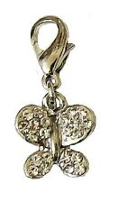 Silver Diamante Crystal Butterfly Clip on Clasp Charms for Bracelet Necklace UK