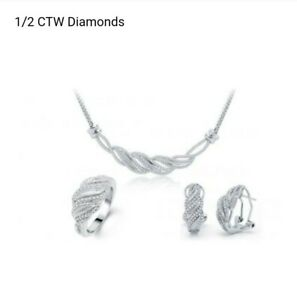.50 CTW DIAMONDS SILVER PLATED OVER BRASS NECKLACE, EARRINGS & SIZE 7 RING SET