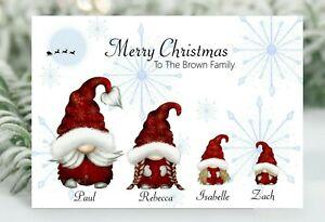Personalised Gonk Christmas card  Gnome Family Customable Christmas card single