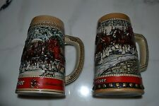 2 - 1988 Budweiser Holiday Beer Mugs - Collector Items - New