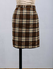 Talbots 100% Wool Brown Tartan Plaid True Wrap Knee Length Pencil Skirt Sz 4