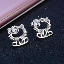 Super Adorable *Hello Kitty* 925 Sterling Silver AAA Cubic Zirconia Stud Earring