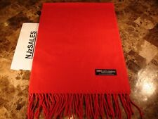 100% CASHMERE Winter Scarf 72X12 SOLID RED 2PLY Made in Scotland Warm Wool Women
