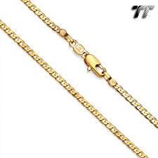 TTstyle Gold Filled Curb Chain Necklace Width 2-4.5mm Length 35-60cm ThreeColor