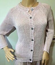 Jigsaw vintage 100% linen pink loose knit summer cardigan MOP buttons S 10