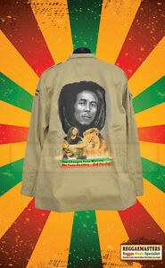 BOB MARLEY DON'T FORGET YOUR HISTORY SAND COLOUR ARMY STYLE JACKET REGGAE