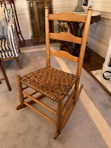 """18th Century Child's Maple Chair with Rush Seat---Excellent Condition 34"""" High"""