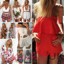 Polyester Crew Neck Striped Jumpsuits & Playsuits for Women