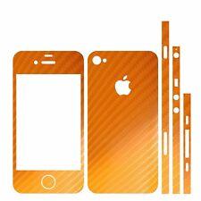 22 FAR. IPHONE 4 FOLIE ORANGE CARBON ( BUMPER SCHALE HÜLLE AUTO KFZ KABEL CASE )