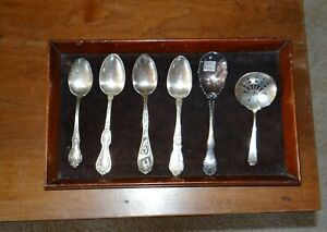 Lot of 5 Antique Sterling Silver Spoons & 1 Silverplate Spoon