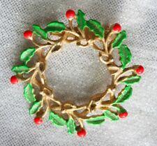 Gold-tone Brooch 1970s Vintage Festive Enamel Holly Christmas Wreath