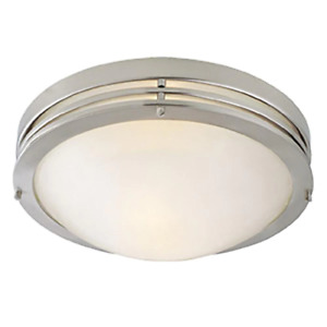 Semi-Flush Mount Lighting 2-Light Incandescent Bulb Alabaster Glass Nickel