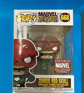 Funko Pop! Marvel Zombies ZOMBIE RED SKULL #668 EXCL. Marvel Corps Free Prot