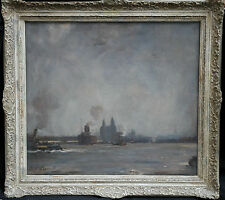 FRANK T COPNALL 1870-1949 BRITISH LIVERPOOL MARINE BARRAGE BALLOONS WARTIME ART