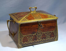 Arts & Crafts Brass & Rosewood/Burlwood Inlay Lock Box Erhard & Sohne C. 1900