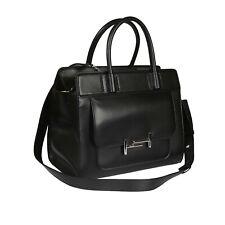TOD'S Double T Black Medium Tote Satchel Women's Leather Handbag XBWAMUU0200