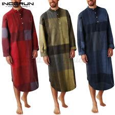 Mens Long Sleeve Check Pajamas Robe Casual Loose Bathrobe Nightshirts Loungewear