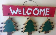 """Christmas wall plaque wood holiday winter trees bells Welcome rustic country 11"""""""